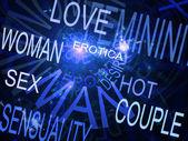 Palabras relacionadas con la sexualidad, fondo azul fractal — Foto de Stock