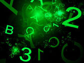 Green alphabet and one two three numbers — Stock Photo