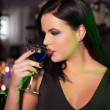 Woman drink cocktail in bar at night — Stock Photo #47819289
