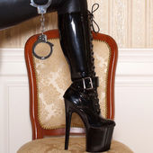 Latex platform boots — Stock Photo