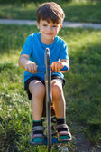 Cute little boy swing on horse — Foto Stock
