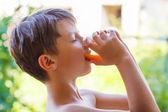 Little boy drink multivitamin juice — Stock fotografie