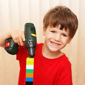 Little boy construct — Stock Photo