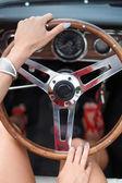 Woman driving car closeup — Stock Photo