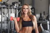Bodybuilder woman with colorful dumbbells — Stock Photo