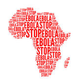 Stop ebola red text — Stock Photo