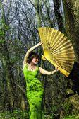Woman and fan — Стоковое фото