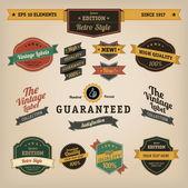 Premium Quality Labels - Collection of retro bi-colours vintage labels with several slogans: Best Choice, Premium Quality — Stock Vector