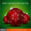 Royalty-Free Stock Vector: Set of christmas balls on green background