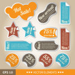 Vintage style discount tags. Sale stickers - Stok Vektör