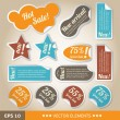 Stock Vector: Vintage style discount tags. Sale stickers