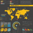Retro infographics set. World Map and Information Graphics — Imagens vectoriais em stock