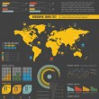 Retro infographics set. World Map and Information Graphics — Stockvectorbeeld