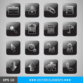 Set of black computer's web icons — Vecteur