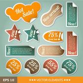 Etiquetas de descuento de estilo vintage. etiquetas engomadas de la venta — Vector de stock