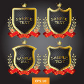Black and gold labels heraldic — Stock Vector