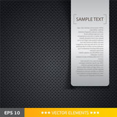 Speaker grill texture black background with text tag — 图库矢量图片