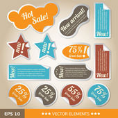 Vintage style discount tags. Sale stickers — Stock Vector