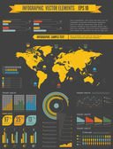 Retro infographics set. World Map and Information Graphics — Stock Vector