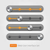Vector user interface collection. On off buttons, bars, power buttons, toggle switch, sliders — Stock Vector