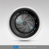Realistic camera photo lens with shutter — Stock Vector