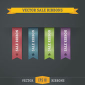 Color vector sale ribbons on dark black background — Stock Vector