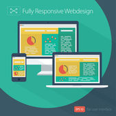 Responsive Web Design - Flat Style Design — Stock Vector