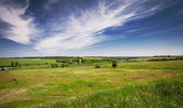 Green Grass Field landscape Ukraine Vinnitsa. Nemiroff shafts — Stock Photo