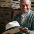 Hatter of the famous panama hat - Stock Photo