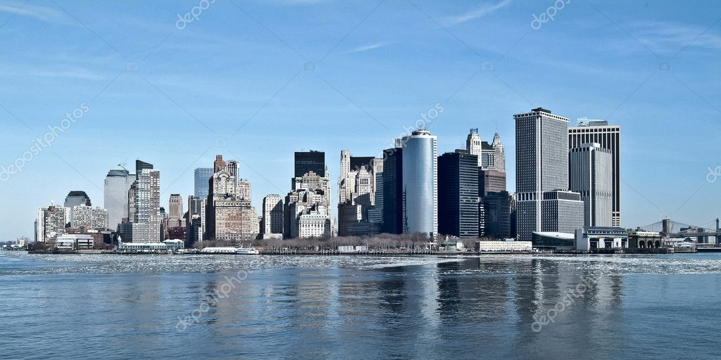 New york/manhattan horizont panorama view from hudson river — Stock Photo #13756708