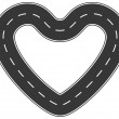 Infinite heart asphalt road of love — Stock Vector #12584873