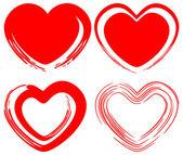 Conjunto de corações de amor de arte — Vetor de Stock