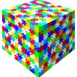 3d vector jigsaw puzzle colorful cube — Stock Vector