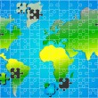 Global world map puzzle jigsaw background vector — 图库矢量图片