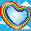 Vector de stock : Rainbow heart in sky with clouds and sun. Abstract background. Vector illustration