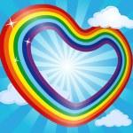 Сердце Радуга в небе облака и солнце. Абстрактный фон. Векторные иллюстрации — Cтоковый вектор