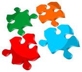 3d значок изолированных головоломки — Cтоковый вектор