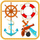 Vektorové sada námořní pirát položek — Stock vektor