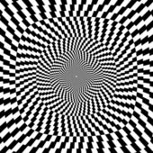 Vector illustration of optical illusion black and white background — Stock Vector