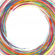 Abstract rainbow curved lines frame circle colorful background — Stock Vector #23291570