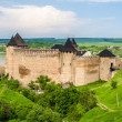 Khotyn castle on Dniester riverside — Stock Photo