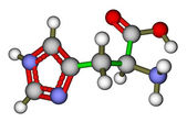 Estrutura molecular do ácido aminado essencial histidina — Foto Stock