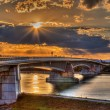Pierre Pflimlin motorway bridge over the Rhine - Stock Photo