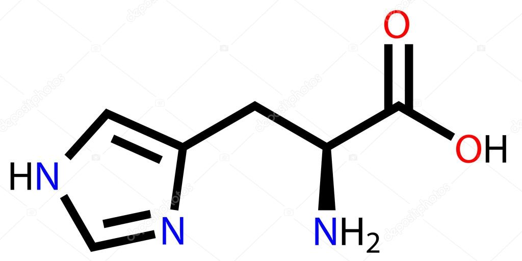 Esansiyel amino asit histidin yapısal formülü — Stok ...
