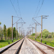图库照片: Double-track electrified (25 kV, 50 Hz) railway line