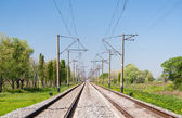Double-track electrified (25 kV, 50 Hz) railway line — 图库照片