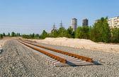 Nuevas pistas. construcción de la línea de tranvía — Foto de Stock
