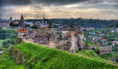Kamianets-Podilskyi Castle. View towards the town. Ukraine. HDR — Stock Photo