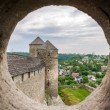 Stock fotografie: View from embrasure of tower at Kamyanets-Podilsky fortres