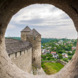 图库照片: View from embrasure of tower at Kamyanets-Podilsky fortres